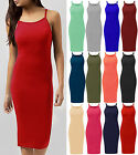 Plus Size Ladies High Square Neck Bodycon Midi Womens Cami Strappy Long Dress