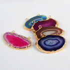 Similar Item! Gold Plated Onyx Agate Slice Double Bail Connector ADG0159