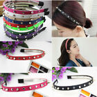 Goth Punk Fashion Headband Bow Spike Rivets Studded Leather Unisex Hair Band