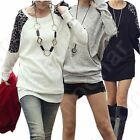 Fashion Leopard Women Long Sleeve Round Neck Loose Patchwork Casual Tops T-Shirt
