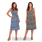Ladies Aztec Print Sundress Sleeveless Summer Beach Short Dress Size 8 - 22 NEW