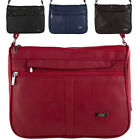 Ladies Leather Style Cross Body / Shoulder Bag / Black, Brown, Navy, Red