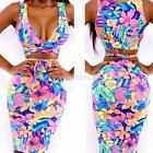 Womens Bodycon Floral Illusion Bandage Two Piece Crop Top and Skirt Dress Set