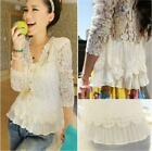 Women Fashion Long-Sleeve V-neck Lace Chiffon Summer Shirts Blouse T-Shirt Top S