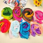 Hot Women Gradient Rainbow Soft Voile Chiffon Long Scarf Neck Wrap Stole Shawl S