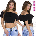Off Bare Shoulder Latina Top Size 6 8 10 Trendy Crop Shirt Volant Blouse XS S M