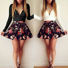 SEXY CELEB NEW WOMEN SEXY V NECK FLORAL PLEATED MINI SUMMER PARTY SKATER DRESSES