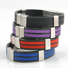 Fashion Men Stainless Steel Silicone Wristband Bracelet Bangle Jewelry Gift