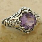 GENUINE BRAZILIAN AMETHYST Scottish Thistle .925 STERLING SILVER RING       #567