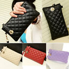 Womens Rhombus PU Leather Shoulder Bags Satchel Clutch Handbag Tote Purse Girl