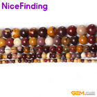 Natural Round Mookaite Jasper Stone Beads Jewelry Making Loose Beads Strand 15""
