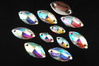 100pcs Faceted Flat Back Resin Crystal Oval Beads Jewelry Finding Shiny Clear AB