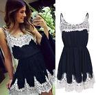 Sexy Women's Sleeveless Blue Floral Lace Cocktail Party Short Dress Clubwear NEW
