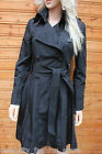 Karen Millen Black Taffeta Belted Military Trench Mac Summer Jacket Coat 10 38