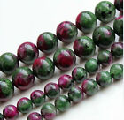 "4mm 6mm 8mm 10mm 12mm Red Green Ruby Zoisite Round Loose Beads 15"" Strand  AA YL"