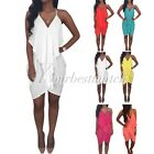 2015 HOT Spaghetti Straps V-neck Backless Candy Color Casual Holiday Dress