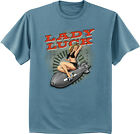 Lady Luck pin up girl design tee shirt men's blue us air force army navy style