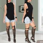 Sexy Women Sleeveless Backless Top Blouse Summer Casual Vest Tops T-Shirt Black