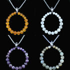 60 choices Natural Gemstones Hoop Reiki Chakra Pendant Beads Necklace Earrings