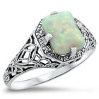 WHITE LAB OPAL .925 STERLING SILVER FILIGREE ANTIQUE STYLE RING,       #337