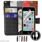Leather Flip Case Cover Pouch Wallet + Screen Protector For Apple iPhone 5c