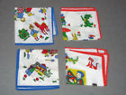 4 Vtg Switzerland Child's Hanky novelty prints Punch Judy puppet show, elves