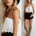 Sexy Women Summer Sleeveless Lace Camisole Casual Crop Blouse Tank Tops Shirt