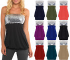Ladies Sequin Bandeau Jersey Top Womens Strapless Boobtube Tops Plus Sizes 8-22