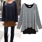 PLUS SIZE Women Asymmetry Hem Long Sleeve Blouse Loose Tunic T-shirt Casual Tops