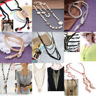 Ladies Fashion Crystal Pearl Charm Long Necklace Chain Jewellery For Women Party