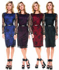 FASHION WOMENS LACE COCKTAIL BODYCON LONG SLEEVE PARTY SLIM EVENING DRESS S-XL