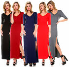 FASHION WOMENS 3/4 SLEEVE CASUAL V NECK SLIT MAXI LONG EVENING GOWN PARTY DRESS