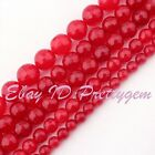 """4-10mm Faceted Round Red Jade Gemstone For DIY Jewelry Making Spacer Beads 15"""""""