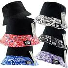 K.Ice.ITZU Co. 2 in 1 REVERSIBLE BANDANA PAISLEY TRIM BUCKET BUSH FISHERMAN HAT