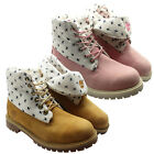 Timberland Roll Top Juniors Boots Pull Down Kids Wheat Pink Leather 4698R 4699R