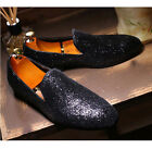 Men's Stylish Pointed Toe Sequins Leather Pull On Shoes Prom Dress Loafers US Sz