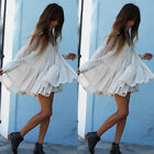 2015 Women Backless Casual Maxi Loose Pleated Dress Tiered Party Short Mni Dress
