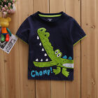 Lovely Baby Kids Boys Cartoon Print Summer Tops T-shirt Blouse Clothes Age 6M-6Y