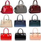 Ladies Quality Patent Satchel With Metal Frame Women's Celebrity Fashion Handbag