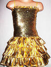 GIRLS GOLD GLITZY SEQUIN RUFFLE EVENING PARTY DRESS