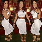Crop Top And Skirt Set 2 Piece Sexy Women Bodycon Clubwear Party Cocktail Dress