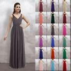2016 V-Neck Bridesmaid Dresses Long Wedding Gowns Prom Party Evening Size 6-26