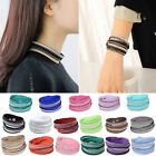 New Leather Women Crystal Rhinestone Bracelet Bangle Wrap Wristband Cuff Punk