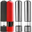 2 x Stainless Steel / Red / Black Electric Electronic Salt Pepper Mill Grinder