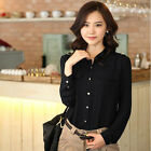 Lady Business Casual Long Sleeve Shirt M/L/XL Black White Sapphire Shirts