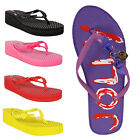 Flip Flops Ladies Womens Wedge Flatform Bow Toe Post Sandals Size 3 4 5 6 7 8