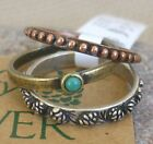 Sterling Silver Rustic Stacking 3 Band Ring Turquoise Tri Tone Big Sky Sz 6 - 8