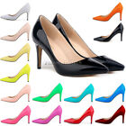 LADIES Patent MID HIGH HEELS POINTED CORSET Party Work PUMPS COURT SHOES US 4-11