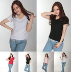 New Womens V Neck Short Sleeve Solid Color Top Blouse T-Shirt Base Shirt S-XXL