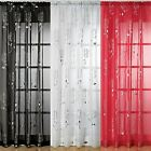 Voile Net Curtain Panel Silver Foil Print Chrissy , White, Black & Red
